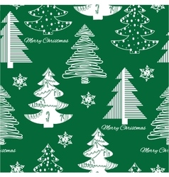 Seamless pattern stylization firs on green vector