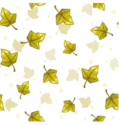 seamless pattern with falling green leaves vector image