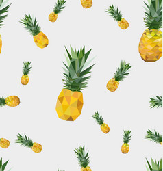 Seamless pattern with polygonal pineapple fruit vector