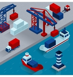Seaport Cargo Loading Isometric Concept vector image