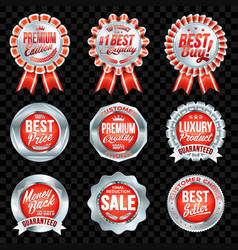 set excellent quality red badges with silver vector image