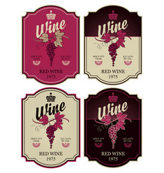 set labels for wine with bunch grapes vector image