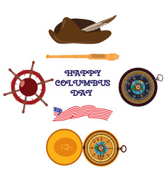 set of happy columbus day flat style design vector image