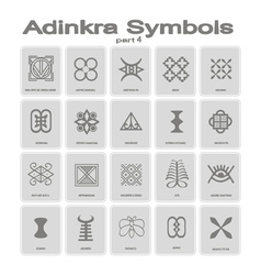 Set of monochrome icons with adinkra symbols vector