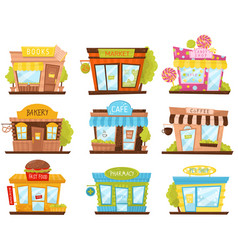 Set of small city stores in cartoon style vector