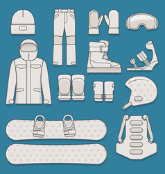 set of snowboard equipment vector image