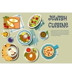 Shabbat day dishes jewish cuisine flat icon vector
