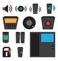Simple set detectors icons for window fire vector