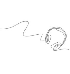 single continuous line drawing headphone from vector image