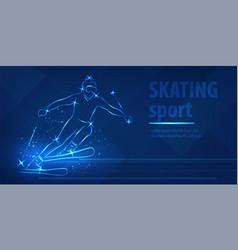 skiing speed race skating sport ice race vector image