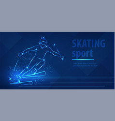 Skiing speed race skating sport ice skiing race vector