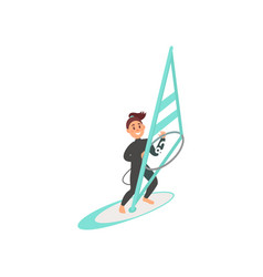 smiling young girl engaged in windsurfing woman vector image