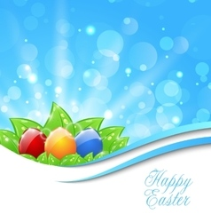 Spring Background with Easter Colorful Eggs vector image