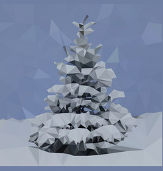 spruce in the snow multicolored triangular mosaic vector image