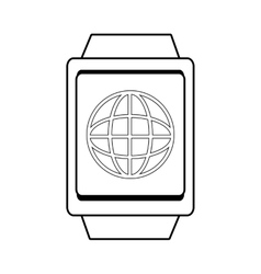 Square watch with world map icon vector