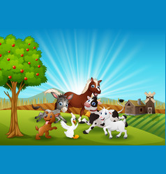 The farm animals playing together in the morning vector