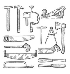 Tools in carpentry workshop hand drawn vector