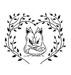 two foxes vector image