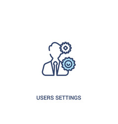 Users settings concept 2 colored icon simple line vector