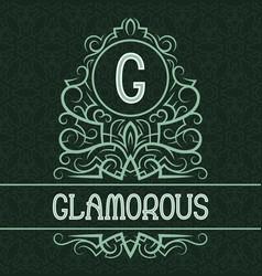 vintage label design template for glamorous vector image