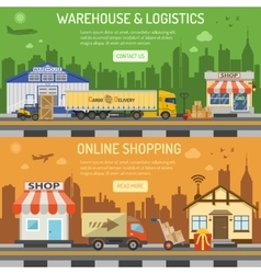 Warehouse logistics shopping banner vector image