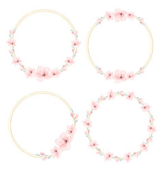 watercolor cherry blossom golden wreath collection vector image