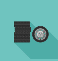 wheels flat icons vector image