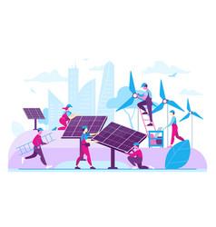 Workers installing ecological energy generators vector