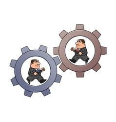 Businessmen in cogwheel machine 2 vector image