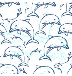 ink hand drawn dolphin seamless pattern vector image