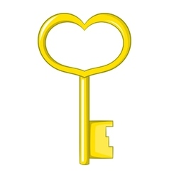 Key in heart shape icon cartoon style vector image