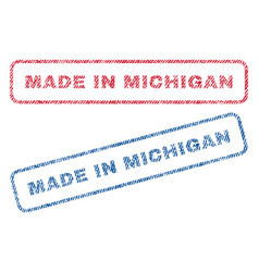 Made in michigan textile stamps vector