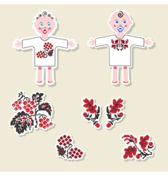 set of design elements and scrapbook objects vector image vector image