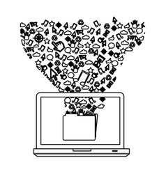 silhouette computer with technological icon vector image