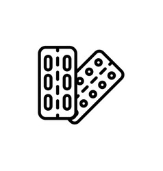 Thin line pill and tablet icon on white background vector