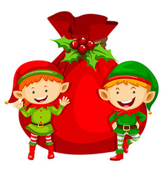 Christmas theme with two elves and red bag vector image