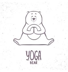 cute silhouette yoga bear vector image vector image