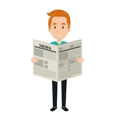 Man reading newspaper cartoon design vector