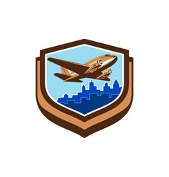 Vintage Airplane Take Off Cityscape Shield Retro vector image vector image