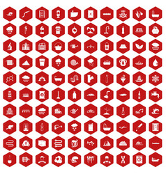 100 water supply icons hexagon red vector