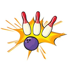Bowling pins and ball on white background vector image