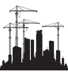 Buildings and cranes vector image vector image