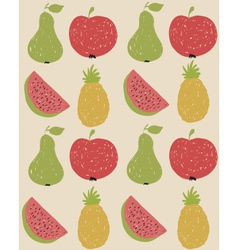 Doodle fruit pattern in retro colors vector image