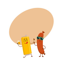 Funny beer can and frankfurter sausage characters vector