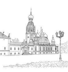sketch of the resurrection cathedral vector image vector image