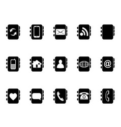 black phone address book icons vector image