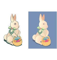 easter bunny with a basket of colored easter eggs vector image