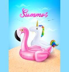 flamingo unicorn inflatable ring on beach vector image