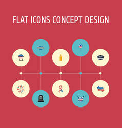 Flat icons holiday barbecue awareness and other vector