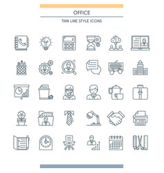thin line design office icons vector image